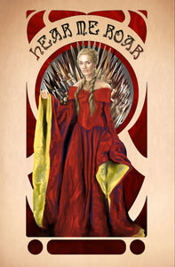 Cersei Lannister Mucha Inspired Print