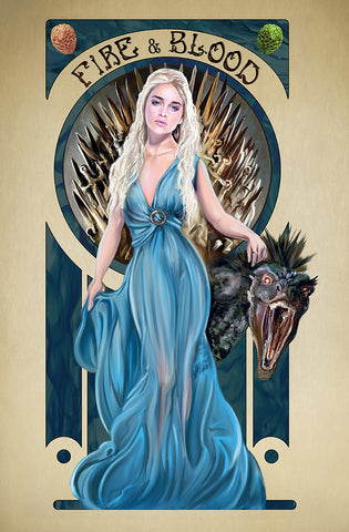"Limited Edition Print on Canvas ""Mucha Inspired Game of Thrones"""