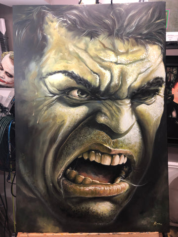 "Original 1/1 Oil on Canvas Painting ""Hulk Smash II"""