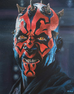 "Original 1/1 Oil on Canvas Painting ""Darth Maul"""