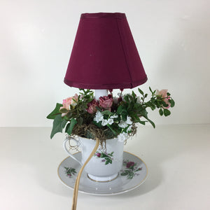 Handmade Burgundy and White Rose Teacup Lamp