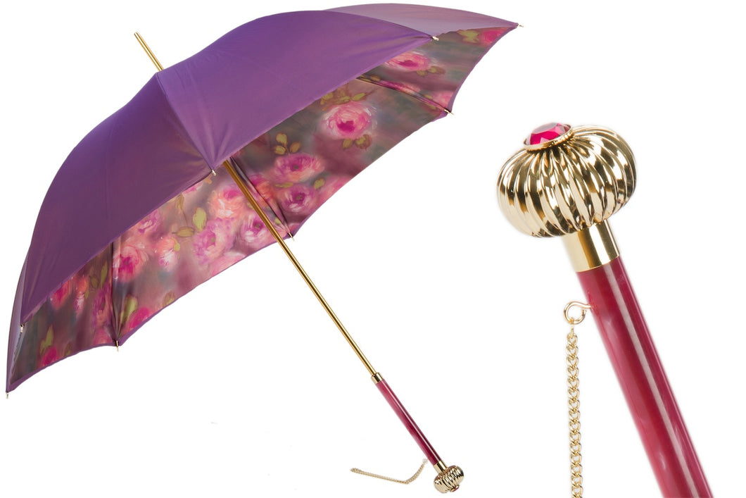 Pasotti Umbrella - Purple With Roses - Womens