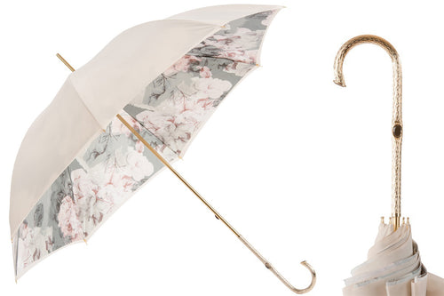 Pasotti Umbrella - Ivory with Flowers - Womens