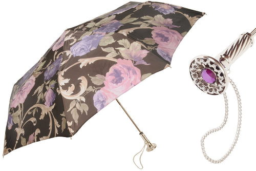 Pasotti Umbrella - Black and Purple Vintage Folding - Womens