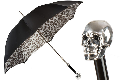 Pasotti Umbrella - Silver Skull, ANIMALIER pattern - Womens