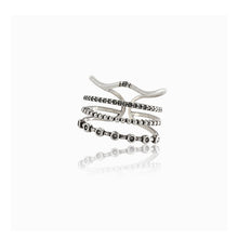 Crown - 4 sterling silver stacking bands with cz's