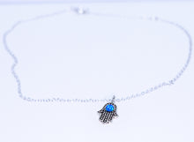 Hamsa Anklet - Pacific Blue Opal in Sterling Silver