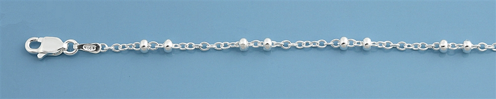 Dble Bead Italian Sterling Silver Anklet