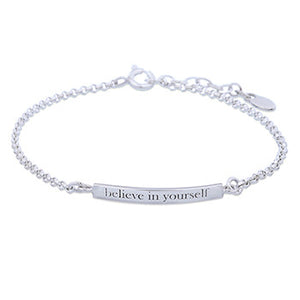 """Believe in Yourself"" - Inspirational Sterling Silver Bracelet"