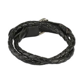 Double Braided Leather Bracelet - Adjustable Buckle