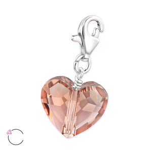 Swarovski Crystal Heart Charm in Blush Rose
