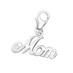 """Mom"" - Sterling Silver Charm"