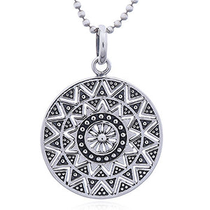 Mandala Sun- with Silver Snake Chain