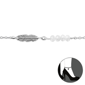 Feather w/ivory beads - Anklet