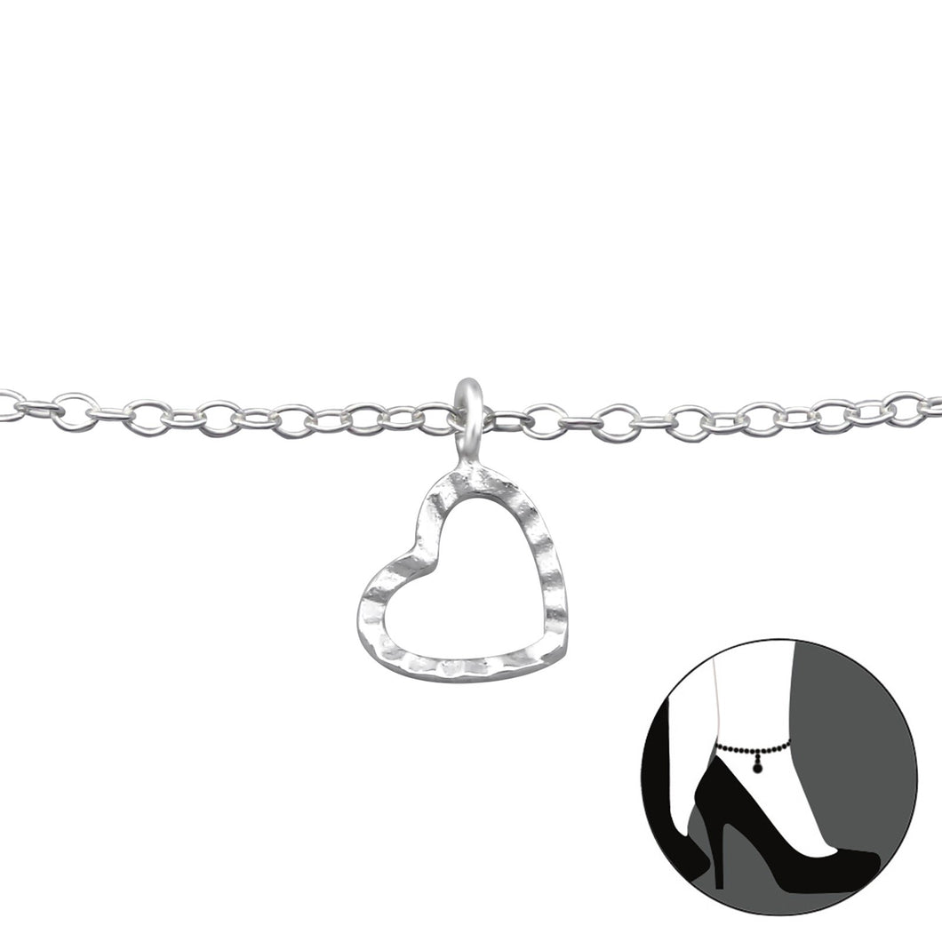 Heart Anklet with a Hammered Dangle Heart