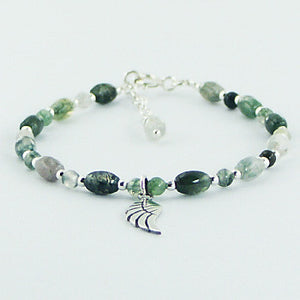 Stability Bracelet - Green Agate and Sterling Silver with Wing Charm