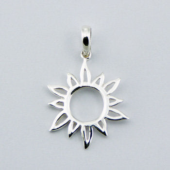 Open Sun Burst Pendant and Sterling Silver Chain