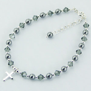 Grey Crystal Pearl Bracelet with Sterling Silver Cross Charm