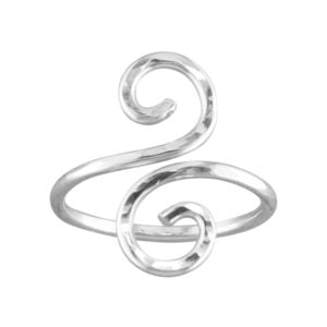 Hammered Swirl (Adjustable) - Toe/Midi Ring