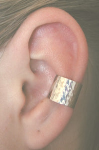 Extra Wide Hammered Band - Ear Cuff