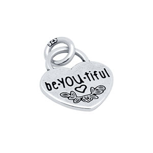 """be.YOU.tiful"" Heart - Sterling Silver Charm"
