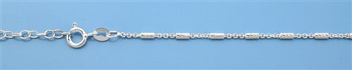 Rectangle Diamond Cut Italian Sterling Silver Anklet
