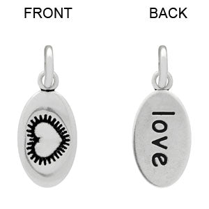 """love""/Heart (Double-Sided) - Sterling Silver Charm"