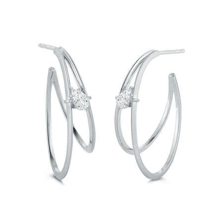 Penelope Double Hoop Pear Shape Earrings