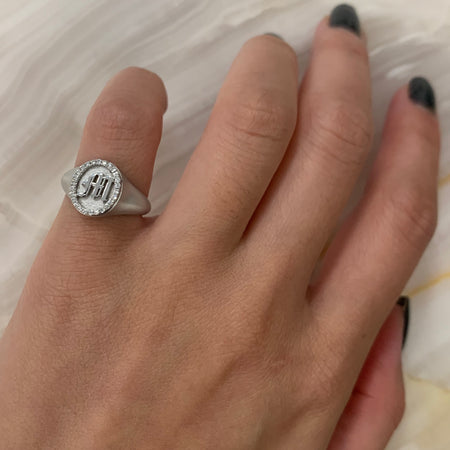 Oval M Signet Ring