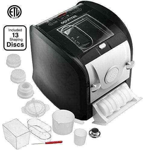 Gourmia GPM630 One Touch Automatic Pasta Maker - Mixes, Kneads & Extrudes -13 Shaping Discs, Makes 1LB Spaghetti, Macaroni, Fettuccine Lasagna & More Bonus Ravioli and Sausage Maker & Free Recipe Book
