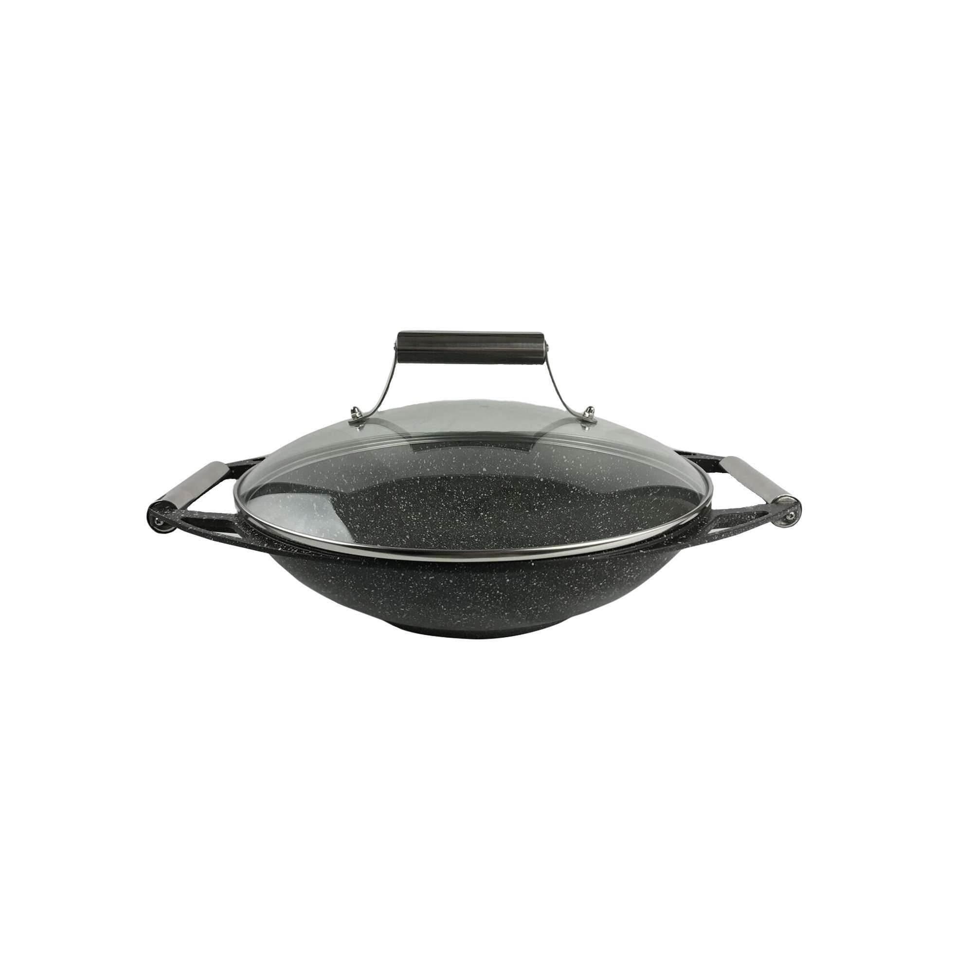 "13.75"" (35 cm) Wok with Glass Lid and Stainless Steel Knob and Handles"