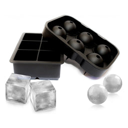 Silicone Tray Combo (2pack) Large Ice Ball Spheres and Big Ice Cube Blocks Cocktail Mould Set