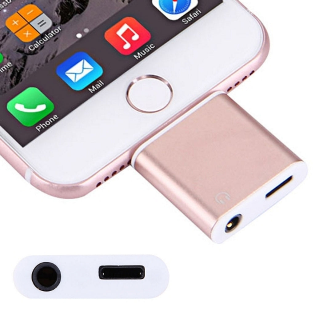 iPhone 7 / iPhone 7 Plus Aluminum Shell 8 Pin to 3.5mm Jack Audio & 8 Pin Charger Adapter (Rose Gold)