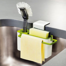 Kitchen Sink Dish Washing Soap Sponge Brush Caddy Draining Organiser with Cloth Drying Hanger