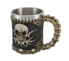 Striking Viking Stainless Steel Beer and Coffee Drinking Mug Skull Design - Truly Unique and Novel Drinkware Gift Idea