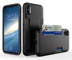 iPhone X Shockproof Shield Series Case - Credit Card Holder Protective Cover