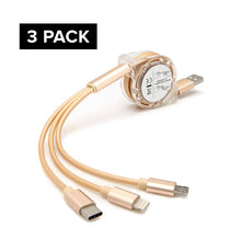3 pack New 3 in 1 Retractable Fast Chargin Cable With Micro USB Type C Adapter For iPhone iOS (Gold)