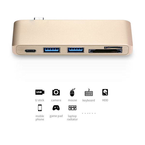 Type-C USB 3.0 3 in 1 Hub - Passthrough USBC Combo Charging Hub for MacBook