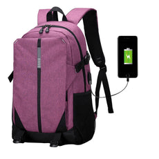 Ultra Smart Tech2Go Rechargable Large Capacity Laptop Bag anvas Backpack with USB Charging Port - Purple