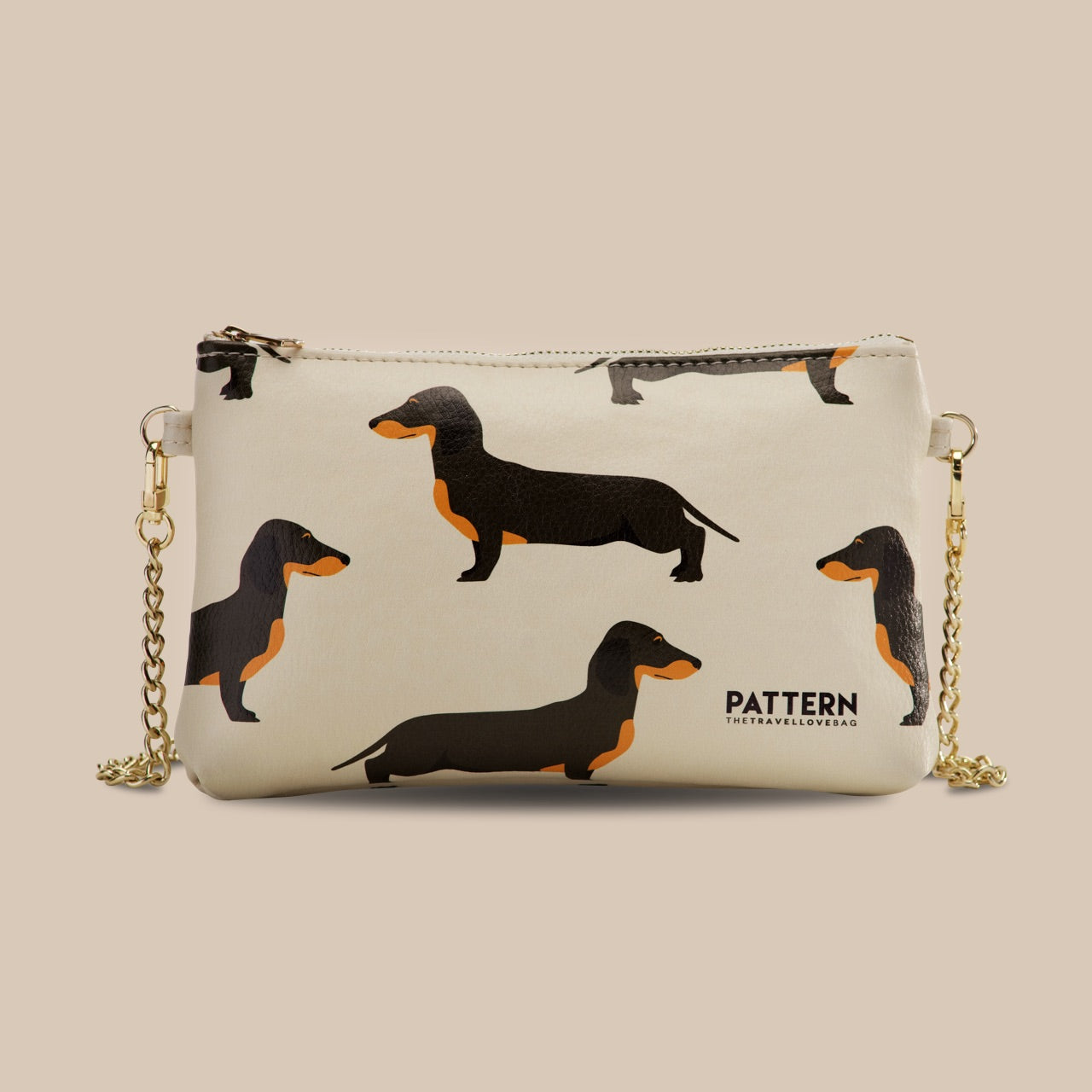 Miss Weekend Dachshunds Pattern Ivory