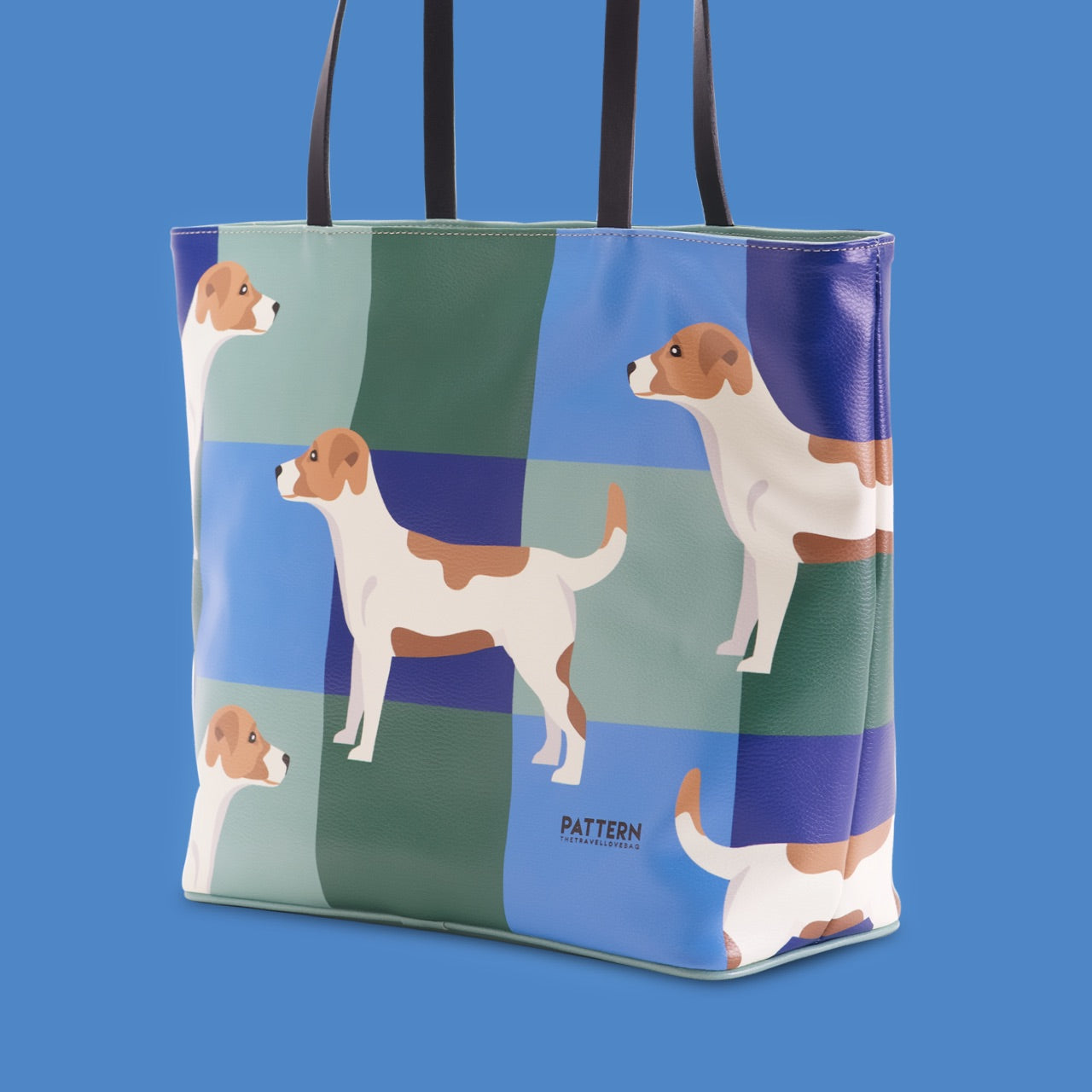 Shopper jack russell green and blue