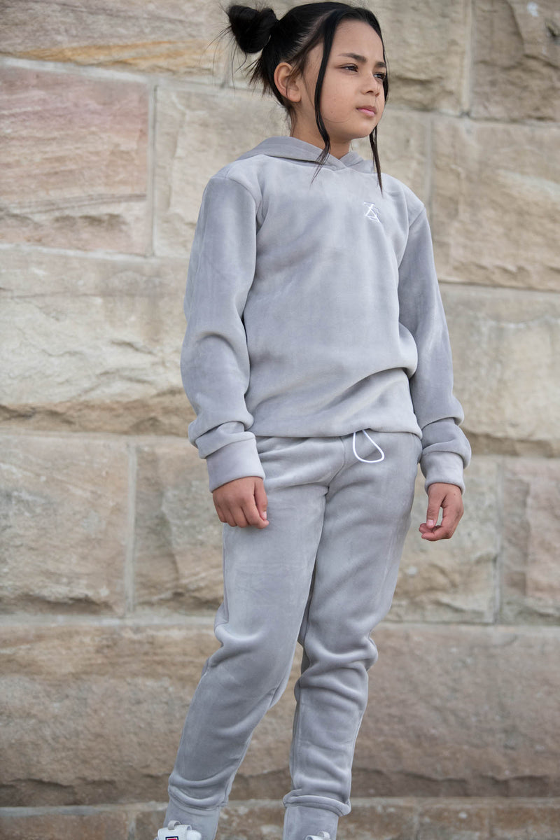 GRAPHITE VELOUR SWEATPANTS - ZAYBAC KIDS