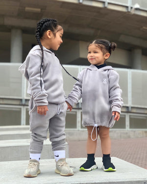 GRAPHITE VELOUR HOODIE WITH TOGGLE WAIST - ZAYBAC KIDS