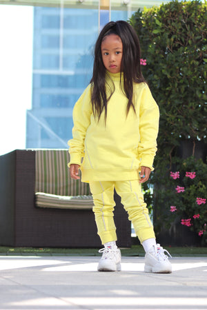 ''LIGHTNING'' MOCK NECK SWEATSHIRT BLAZIN YELLOW - ZAYBAC KIDS