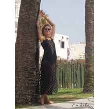 boho black dots beach dress