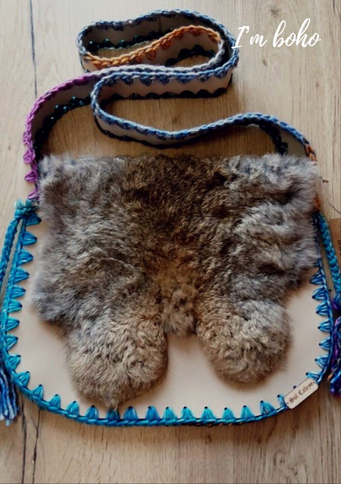 Boho Real Leather Fur Handmade Unique handbag