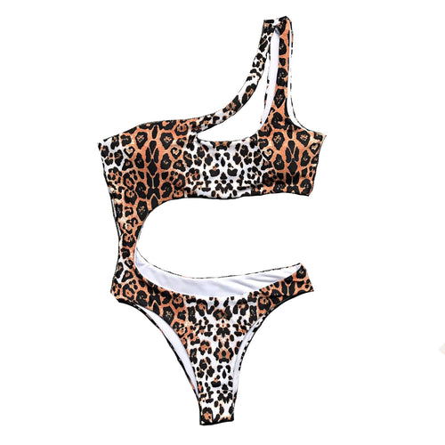Luxury One Shoulder Animal Print Leopard Monokini