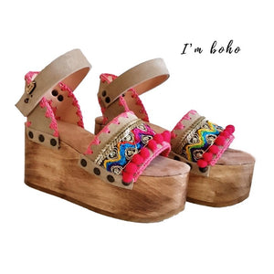 Boho Pompoms Wooden Wedges Sandals