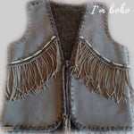 Boho Handmade Vest Real Leather Indian