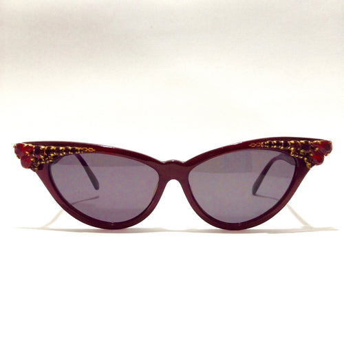 ZAGATO Chic - Red - Vintage Women  Sunglasses with SWAROVSKI Crystals